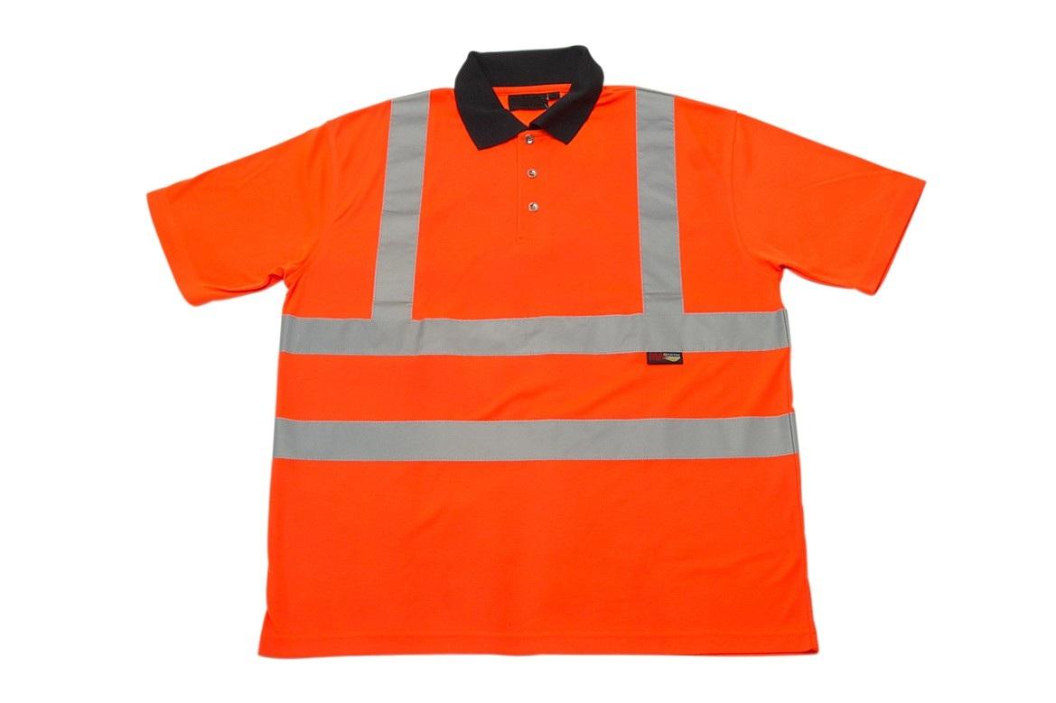Mm orange hi vis workwear safety polo shirt g s mahal co for Hi vis safety shirts